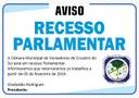 AVISO, Recesso Parlamentar